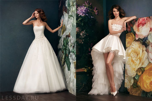 На фото длинная и короткая со шлейфом модели дизайнера Alena Goretskaya. Короткие свадебные платья