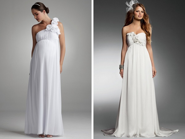 Простой крой таких свадебных платьев для беременных смотрится очень романтично и изысканно, но может подчеркивать то, что хотелось бы скрыть