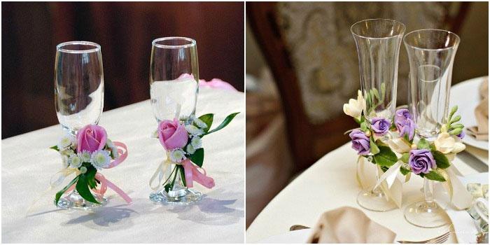 Сделать бокалы на свадьбу своими руками из лент мастер класс